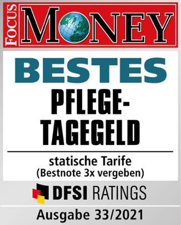 Testurteil Focus Money: Bestes Pflegetagegeld